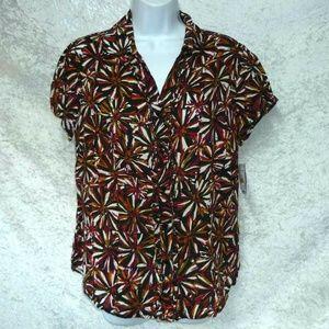 NEW Sag Harbor Women's Blouse Short Sleeves size S